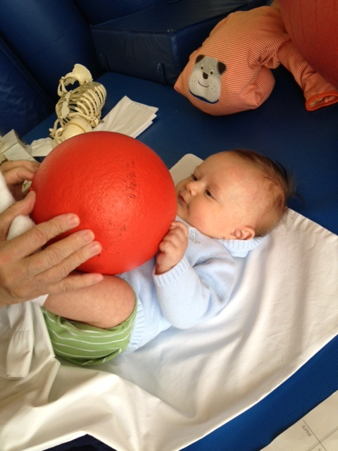 Ball exercises at physical therapy
