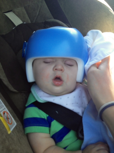 Day 5: Sleeping with his helmet on