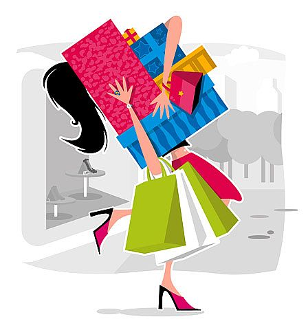 Cartoon lady shopping with lots of bags