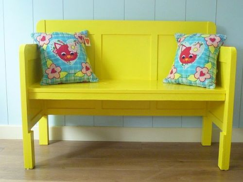 yellow bench for kids