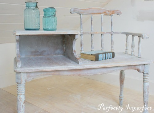 white washed antique bench for kids