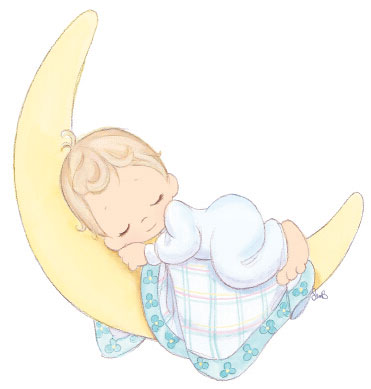 baby sleeping on a moon