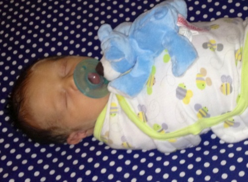 Will swaddled in his Swaddleme blanket