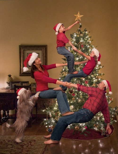 Christmas card gymnastics