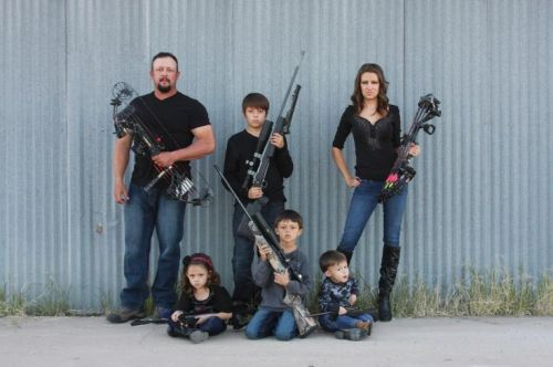christmas card people with guns
