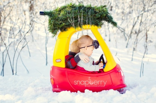 christmas card with babies in mini car