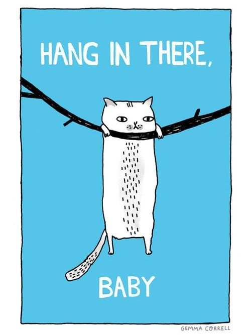 cartoon of a cat hanging on a branch