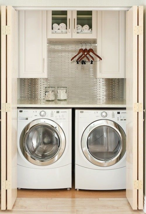laundry room with shelving