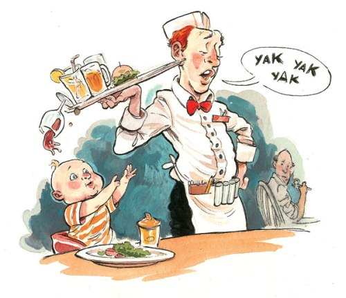 cartoon image of child at a restaurant