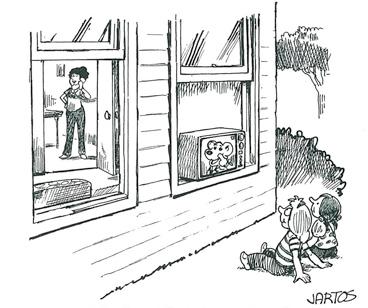 Kids outside watching cartoons