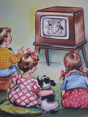 old fashioned picture of kids watching tv